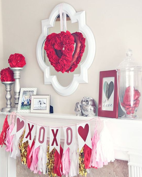 valentines day decor mantle ga real estate