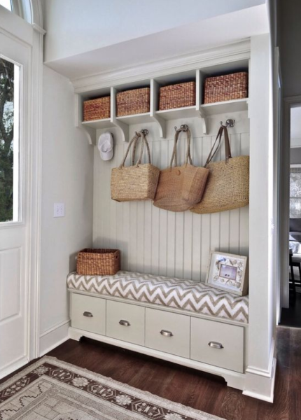 mudroom style foyer